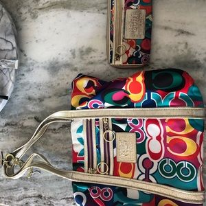 Multicolored Authentic coach tote and wallet.